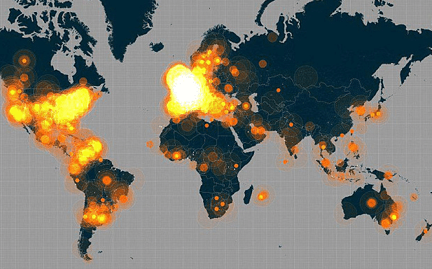 Twitter heatmap shows the #jesuischarlie hashtag
