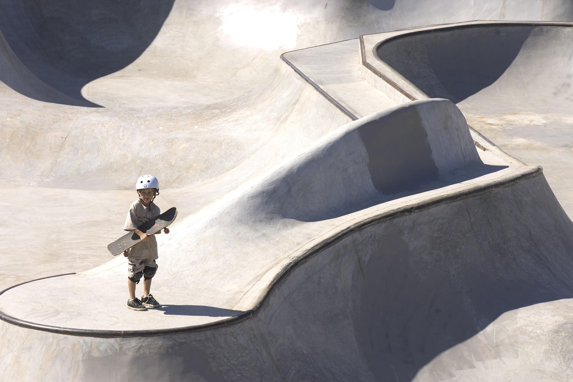 A young skater enjoys the Athens, Georgia skatepark