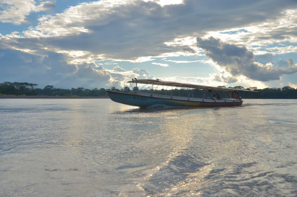 Kara solar canoe in the water