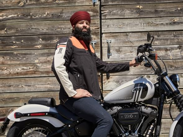 Motorcyclist wearing Tough Turban